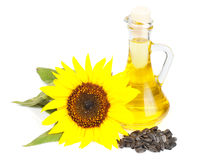 Sunflower seed oil. Isolated on white background Stock Photo