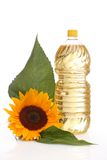 Sunflower seed oil. On a white background Stock Photo