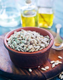 Sunflower seed and oil Royalty Free Stock Image