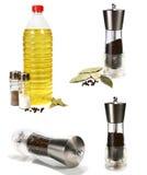 Sunflower seed oil and seasonings Stock Image