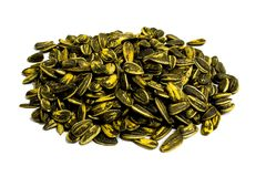 Sunflower seed pile. Pile of sunflower seeds isolated on white background Royalty Free Stock Photography