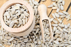 Sunflower seed on table. Sunflower seed on wooden table Stock Photos