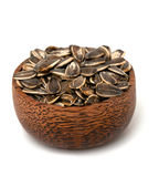 Sunflower seed in a wooden bowl Stock Images