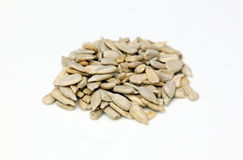 Sunflower Seeds. Close up shot of a pile of peeled edible sunflower seeds on a white background royalty free stock photo