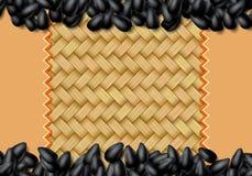 Sunflower seeds background with heap of black grains. Sunflower seeds background with heap of scattered black grains vector illustration
