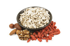 Sunflower Seeds in a Bowl Royalty Free Stock Images