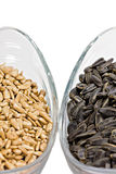 Sunflower seeds in a bowl Stock Images