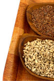 Sunflower seeds and flax Royalty Free Stock Photography
