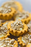 Sunflower seeds homemade cookies. Unique homemade cookies with sunflower seeds topping stock images