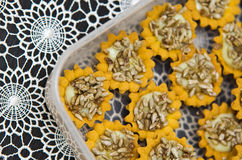 Sunflower seeds homemade cookies. Unique homemade cookies with sunflower seeds topping royalty free stock photography