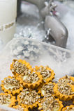 Sunflower seeds homemade cookies. Unique homemade cookies with sunflower seeds topping stock image