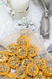 Sunflower seeds homemade cookies. Unique homemade cookies with sunflower seeds topping stock photography