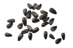 Sunflower seeds isolated on white background. top view royalty free stock image