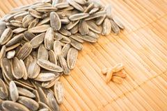 Sunflower seeds on kitchen mat Stock Photos