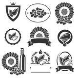 Sunflower seeds label and elements set. Vector Royalty Free Stock Photography