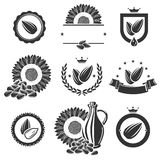 Sunflower seeds label and elements set. Vector Royalty Free Stock Image