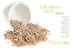 Sunflower seeds Nutrition Facts. Royalty Free Stock Photos