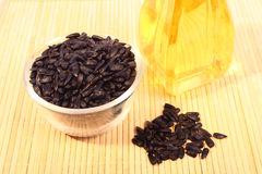Sunflower seeds and oil. Royalty Free Stock Photos