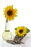 Sunflower Seeds and Oil Bottle Royalty Free Stock Photography