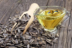 Sunflower seeds and oil Royalty Free Stock Image
