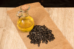 Sunflower seeds and oill Royalty Free Stock Photos