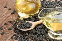 Sunflower seeds and oill Stock Image