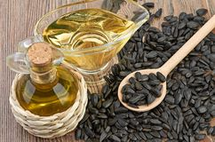Sunflower seeds and oill Royalty Free Stock Photo