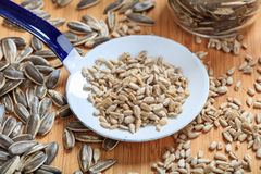 Sunflower seeds and an old ladle Royalty Free Stock Photography