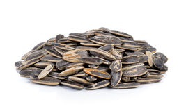 Sunflower seeds pile against white background Stock Images