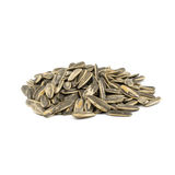 Sunflower seeds pile against white background Stock Image