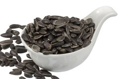 Sunflower seeds in porcelain bowl Stock Image