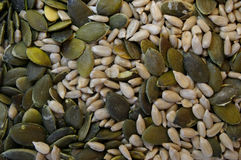 Sunflower seeds and pumpkin seeds texture background Stock Photos
