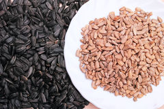 Sunflower seeds and refined grains Royalty Free Stock Photo