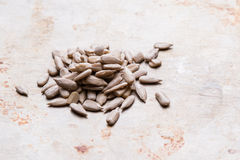 Sunflower seeds on steel plate Stock Photo