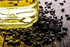 Sunflower seeds and sunflower oil Stock Image
