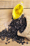 Sunflower seeds and vegetable oil Stock Photos
