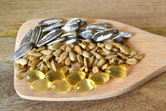 Sunflower seeds and vitamin E Royalty Free Stock Photography