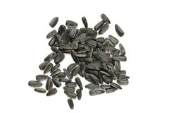 Sunflower seeds on a white background. Sunflower seeds isolated on a white background Stock Image