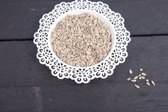Sunflower seeds in white bowl Royalty Free Stock Photo