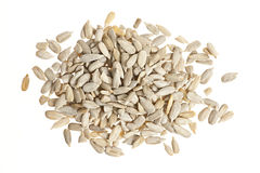 Sunflower seeds on white Stock Photography