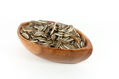 Sunflower seeds in a wood bowl Stock Photography