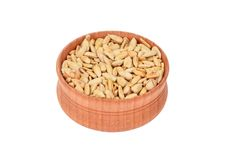 Sunflower seeds in wooden bowl Stock Photo