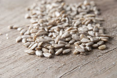 Sunflower seeds on the wooden table Stock Photo