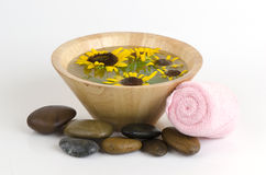 Sunflower and a spa tub. Stock Images