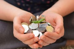 Sunflower sprout in hands with Olympic 50p coins. Sunflower sprout in hands with 50p coins Stock Images