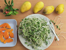 Sunflower sprouts, papaya slices on plate Royalty Free Stock Photography