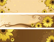 Sunflower summer positive banners Stock Photos