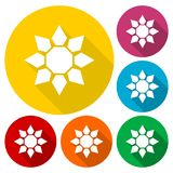 Sunflower symbol icons set with long shadow Royalty Free Stock Photography