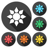 Sunflower symbol icons set with long shadow Stock Photography