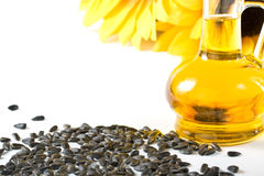 Sunflower and vegetable oil Stock Photos